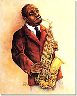 African American Black The Jazz Saxophone Player Wall Picture 8x10 Art Print