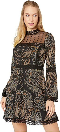 Jaida Mesh Yoke Print Dress