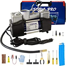STORM BRO Dual Cylinder Portable Air Compressor, Backlight Display 12V Heavy Duty Portable Air Pump with Tool Box for Car Tires, Balls, Other Inflatables
