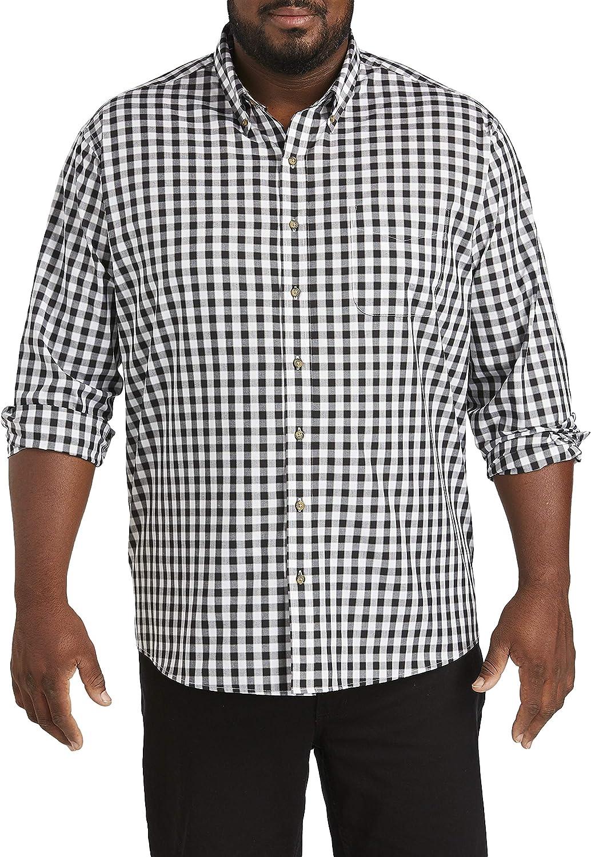 Harbor Bay by DXL Big and Tall Easy-Care Medium Plaid Sport Shirt, Caviar