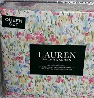 Ralph Lauren Pink Watercolor Abstract Floral Sheet Set Set 100% Cotton (QUEEN)