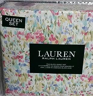 Ralph Lauren Pink Watercolor Abstract Floral Sheet Set Set 100% Cotton (QUEEN)
