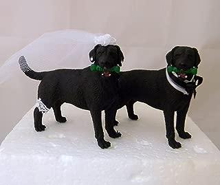Wedding Reception Black Labrador Dogs Pet Party Cake Topper