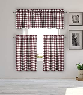Home Maison - Kaiser Plaid Gingham Checkered Kitchen Tier & Valance Set   Small Window Curtain for Cafe, Bath, Laundry, Bedroom - (Red)