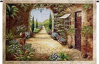Secret Garden I | Woven Tapestry Wall Art Hanging | Old World Tuscan Villa | 100% Cotton USA Size 55x37