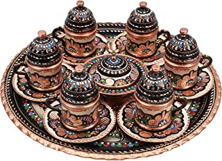 Handcraft Ideas 27-Piece Turkish Coffee, Espresso and Tea Set - Handmade Serving Set for 6 Includes Cups, Saucers, Sugar Bowl and Tray - Floral Design - Premium Copper Construction - (CS6-118)