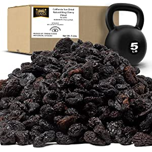 Traina Home Grown California Sun Dried Natural Pitted Cherries - Healthy, Natural, No Added Sugar, Non GMO, Gluten Free, Kosher Certified, Vegan, Dark Red, Value Size (5 lbs)