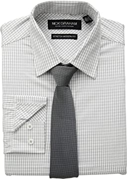 Mini Windowpane CVC Stretch Dress Shirt & Tie Set