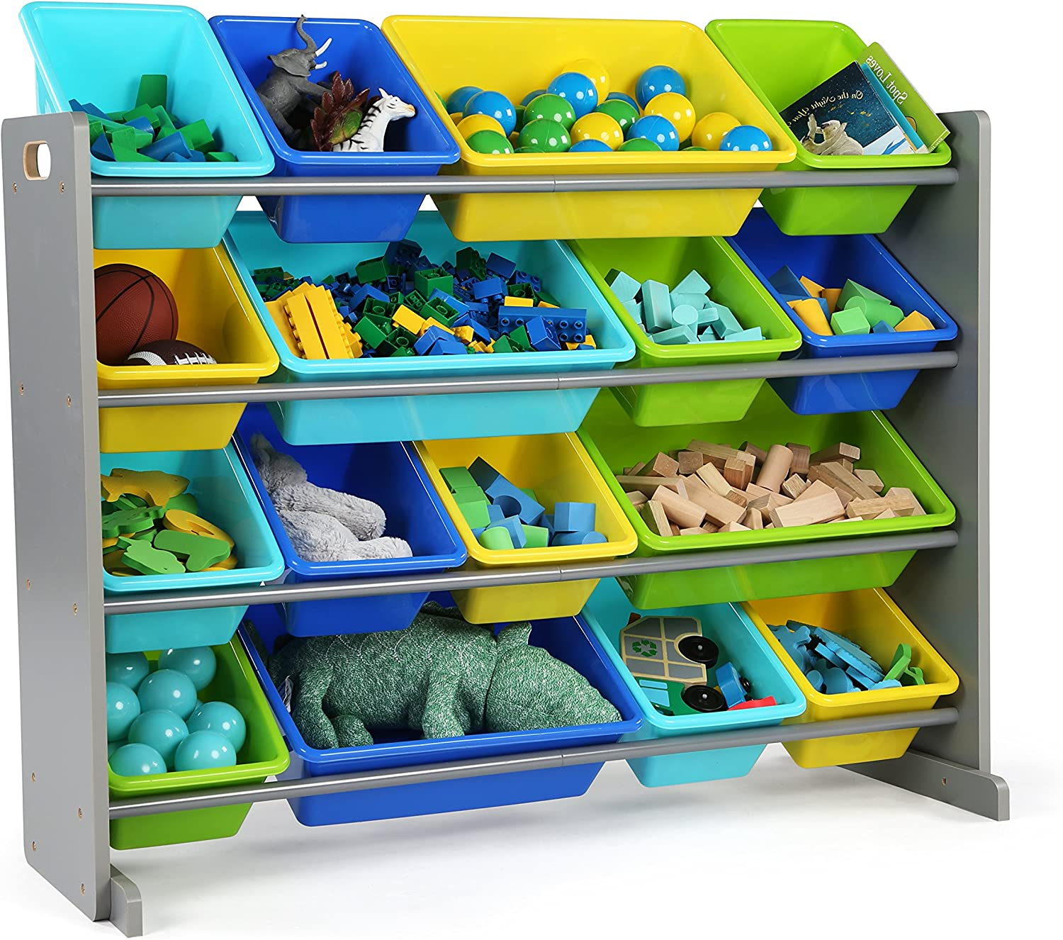 Tot Tutors WO498 Elements Collection Wood Toy Storage Organizer, X-Large, Grey bluees