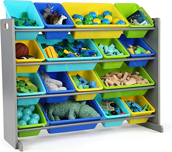 Tot Tutors WO498 Elements Collection Wood Toy Storage Organizer X Large Grey Blue Green Yellow