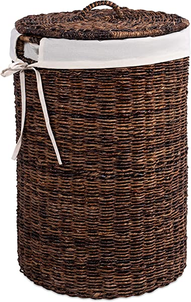 BirdRock Home Abaca Laundry Hamper With Liner Round Clothes Bin With Lid Organize Laundry Cut Out Handles For Easy Transport Includes Machine Washable Canvas Liner Espresso