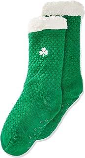 Traditional Craft, T9332 Calcetín bordado verde de trébol, talla única para Mujer