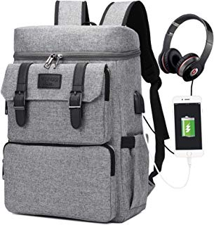 Laptop Backpack for Men and Women Travel Backpack Bookbag School Backpack Stylish Water Resistant Vintage Backpack Computer Backpacks Work Backpack with USB Charging Port