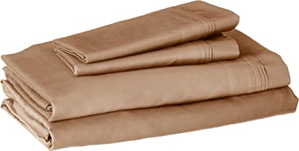 100% Egyptian Cotton 650 Thread Count, Queen 4-Piece Sheet Set, Deep Pocket, Single Ply, Solid, Taupe