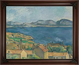Historic Art Gallery The The Bay of Marseilles, Seen from L'Estaque 1885 by Paul Cezanne Framed Canvas Print, Size 16x20, Brown