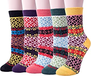5 Pack Womens Thick Warm Comfort Cotton Casual Wool Winter Socks