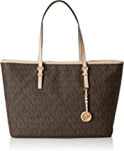 Michael Kors Women's Medium Jet Set Travel Multifunction Leather Top-Handle Tote