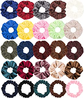 WATINC 25Pcs Satin Hair Scrunchies Glittery Hair Ties Strong Elastic Cotton Hair Bobbles for Ponytail Holder Colorful Traceless Hair Bands Velvet Hair Accessories Ropes Scrunchie for Women