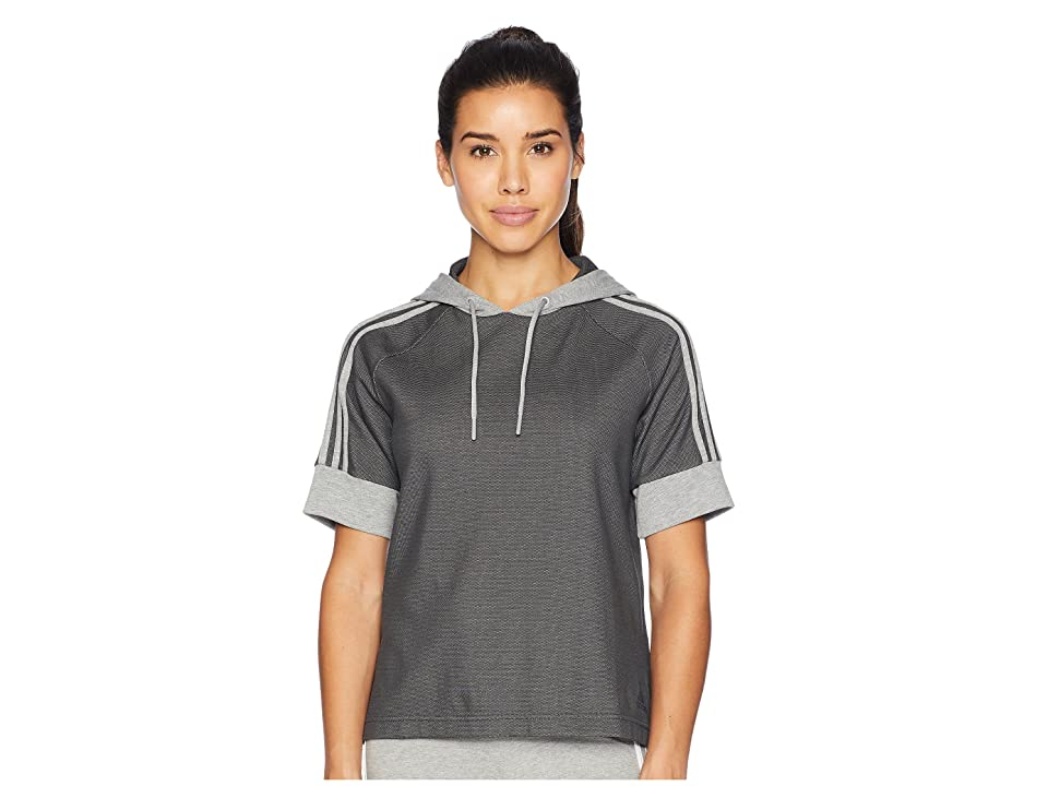 adidas Sid Short Sleeve Pullover Hoodie (Dark Grey Heather Solid Grey/Medium Grey Heather) Women