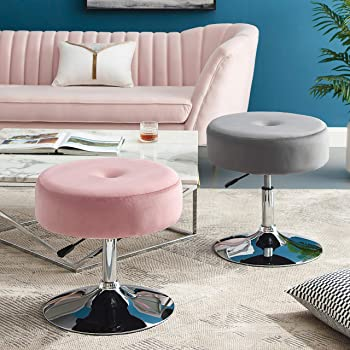 Art Leon Vanity Stool, Modern Large Round Swivel Adjustable Makeup Vanity Benche and Stool for Bathroom Bedroom, Blush Pink