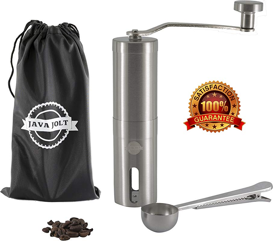 Manual Coffee Grinder By Java Jolt Stainless Steel Mill Adjustable Ceramic Conical Burr Premium Grinding Mill Includes Bonus Travel Pouch And Spoon Clip