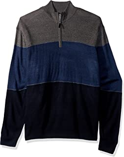 Men's Big and Tall Quarter Zip Soft Acrylic Color-Block Sweater