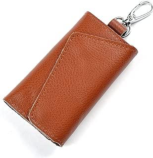 Heshe Leather Key Case Wallets Unisex Keychain Key Holder Ring with 6 Hooks Snap Closure