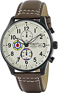 Aviator F-Series Men's Vintage World War II Pilot Design Quartz Chronograph 100 Meters Waterproof Watch Brown Leather Strap Wristwatch