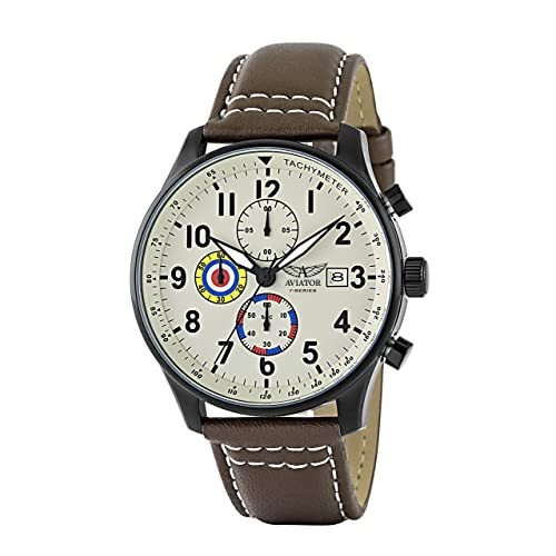 Aviator F-Series Mens Vintage World War II Pilot Design Quartz Chronograph 100 Meters Waterproof