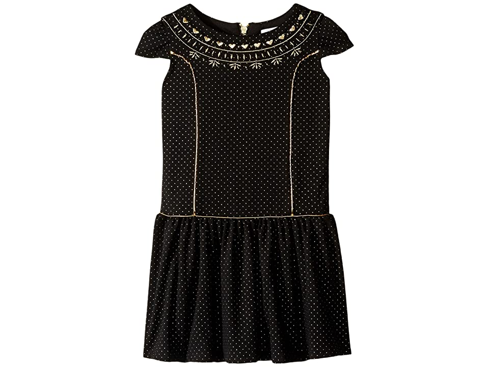 Us Angels Cap Sleeve Princess Bodice Drop Waist Dress (Toddler/Little Kids) (Black) Girl
