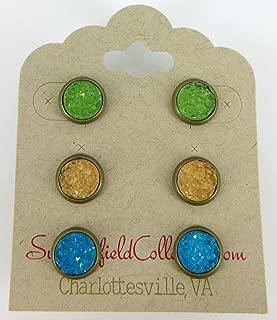 Trio Antiqued Gold-tone Stud Earrings 8mm Green Yellow Blue Faux Druzy Stone Set