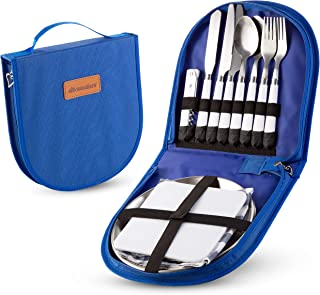 Camping Silverware Kit Cutlery Organizer Utensil Picnic Set - 12 Piece Mess Kit for 2 - Stainless Steel Plate Spoon Butter...