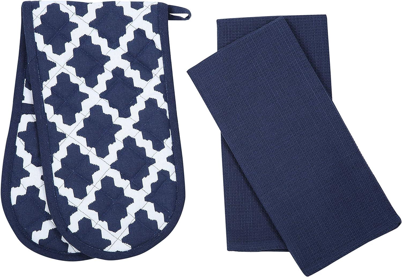 Penguin Home Apron Black//White 45X 65 cm Double Oven Glove and 2 Kitchen Tea Towels Set-100 Soft Heat Resistant /& Super Absorbent 70 X 90 Cotton Durable 18 X 90