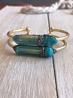 Throat Chakra bracelet spiritual bangle healing cuff crystal gemstone aqua aura Quartz Boho jewelry