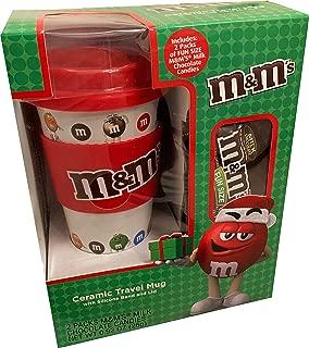 M&M's Ceramic Christmas Travel Mug Gift Set with Chocolate Candies (Red)