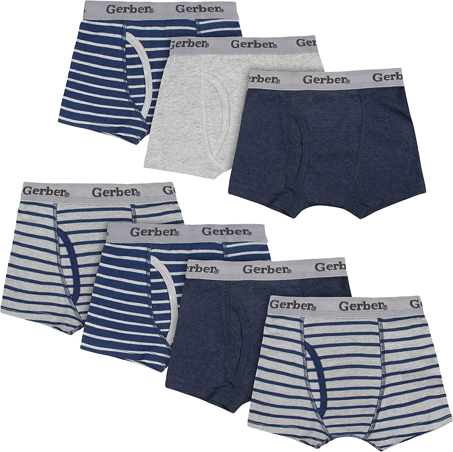 Gerber 7-Pack Toddler Boys Striped Blue and Grey Boxer Briefs