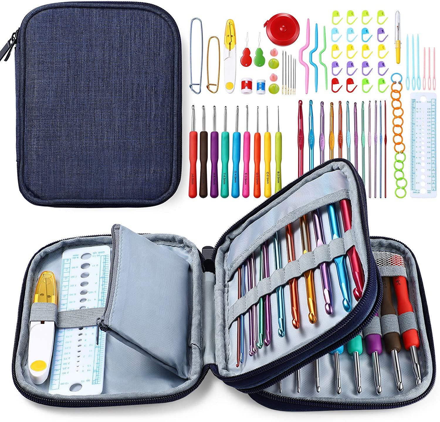 ISSEVE latest 85Pcs Crochet Quantity limited Hook Set with Accessories Ergo Storage Bag
