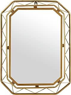 Rivet Modern Metal Lattice-Work Octagonal Hanging Wall Mirror 22.25 Inch Height, Gold Finish