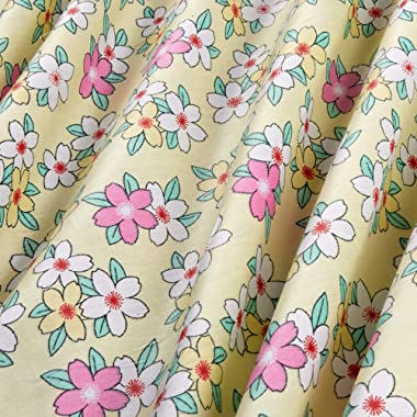 Bella Twill Prints Floral on Soft Yellow Fabric