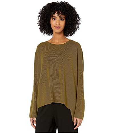 Eileen Fisher Fine Merino Rib Crew Neck Box Top (Gold Leaf) Women