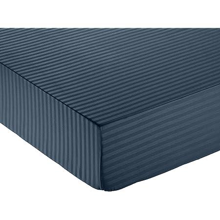 Amazon Basics Fitted Sheet, Bleu Marine, 160 x 200 cm