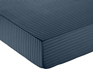 Amazon Basics Fitted Sheet, Bleu Marine, 140 x 200 cm