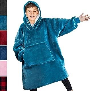 PAVILIA Blanket Sweatshirt with Sherpa Lining for Kids, Children | Super Soft, Warm, Reversible Hoodie Blanket for Boys, Girls | Giant Hood, Oversized Fleece Pullover with Pocket (Sea Blue)