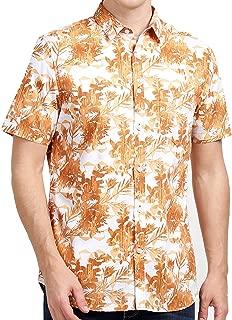 Tusok Men Short Sleeve Shirt Casual Hawaiian Flower Party Beach Vacation Aloha Orange Brown Zigzag Printed