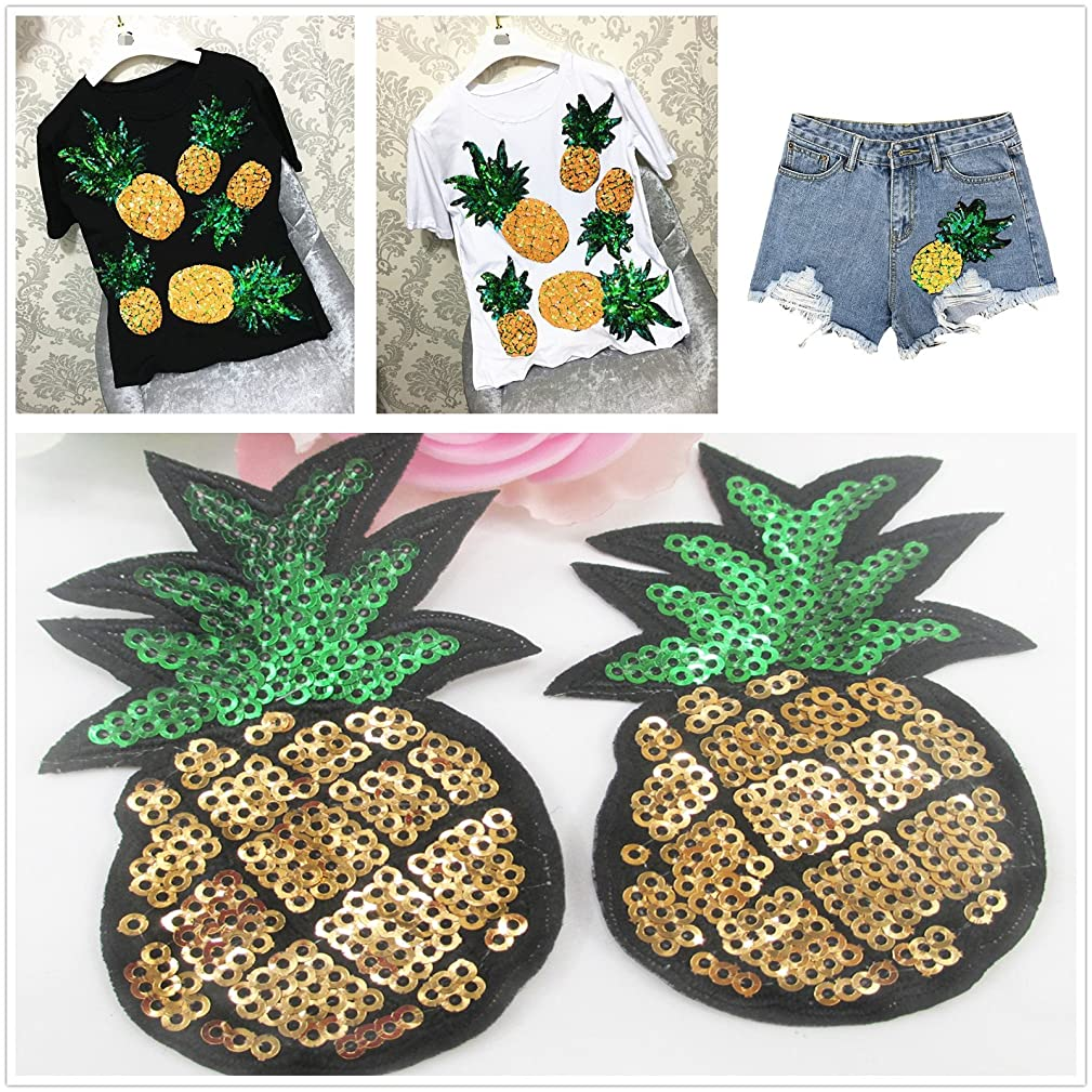 2 Pack Different Size Bling Pineapple Embroidery Sequins Patch For T shirt Women Tops Short Sleeve Loose O-neck T-shirt Women TeesEmbroidery patch diy clothing patch applique blossom DIY Sewing
