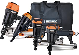 Freeman P4FRFNCB Framing/Finishing Combo Kit with Canvas Bag 4-Piece Pneumatic Nail Gun Set of 4 with Framing Nailer, Finish Nailer, Brad Nailer & Narrow Crown Stapler