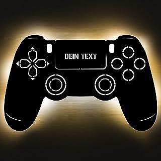 Gaming Controller 4 Lampe aus Holz - personalisierbares Geschenk für Männer - Gaming Zimmer Deko - Gamingpad Lampe - perso...