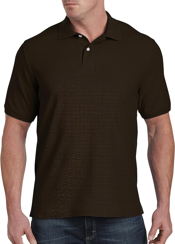 Harbor Bay by DXL Big and Tall Pique Polo Shirt, Dark Brown, 1X