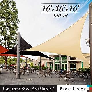 Royal Shade 16' x 16' x 16' Beige Triangle Sun Shade Sail Canopy, 95% UV Blockage, Heavy Duty 200GSM, Custom Made Size