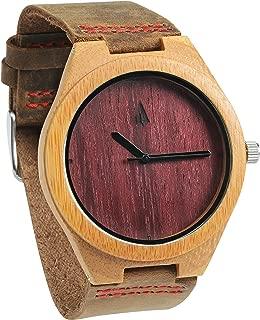 Treehut Men's Purple Heart Bamboo Wooden Watch – Genuine Brown Leather Strap